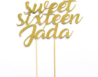 Birthday Cake Topper. Sweet Sixteen. 16 years old. 16th Birthday. Sweet 16.16th birthday party. Custom name.Birthday Party decoration.Age 16