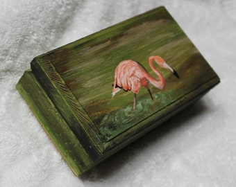 Flamingo,PinkFlamingo,FlamingoBox,FlamingoGiftBox,FlamingoTrinketBox,FlamingoTreasureBox,WoodenBox,JewelryBox,MadeInUSA,FlamingoShowerGift