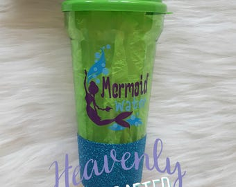 Mermaid Water Glitter Dipped Tumbler // Mermaid Glitter Dipped Tumbler // Mermaid Gift // Glitter Dipped Tumbler