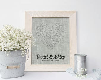 4th Wedding Anniversary Linen gift, Wedding Song Lyrics, First dance song, Vows Art personalized gift for him, her