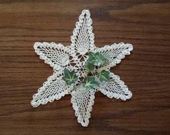 Vintage Star Doily, Crocheted Doily, 9 Inch Crochet Lace Doily, Home Decor