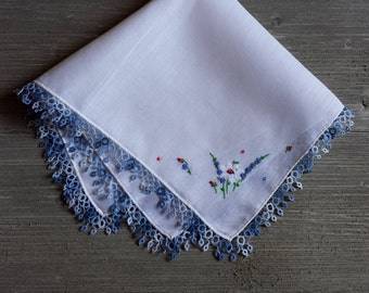 Vintage Handkerchief, Embroidered Flowers, Wedding Hankie, Something Blue, Gift for the Bride