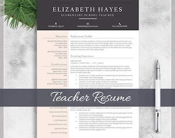 Teacher Resume Template, CV Template for MS Word, Creative Professional Teacher Resume Design with Cover Letter