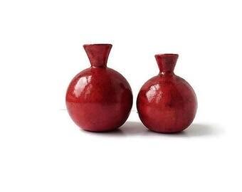 Ceramic Vase, Red  Small Vase Set, Red Flower Vase, Earthenware Vase, Red Gift, Christmas Gift, Anniversary Gift, Valentine Gift, Home Decor