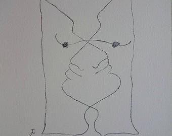 Jean COCTEAU : Interwoven Faces - Original Signed Lithograph