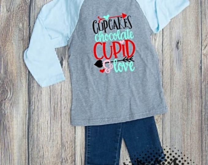 Valentines Tshirt Cupid Youth Kid Child Unisex Cotton  t-shirt vinyl Cupcake Chocolate