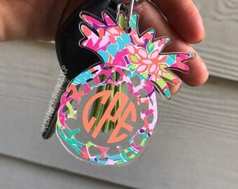 Pineapple Monogram Keychain | Pineapple Key Chain | Monogram Keychain | Pineapple Monogram | Lilly Monogram Keychain | Key Monogram | Car