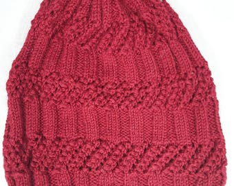 Red slouch beanie- Adult