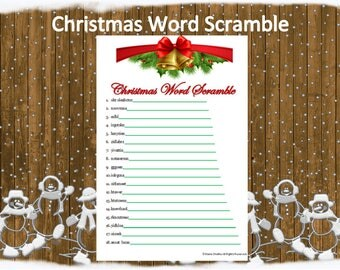 Printable Christmas Word Scramble~Holiday Word Scramble~Christmas Party Word Game~Holiday Party Game~Digital Christmas Game~Holiday Game