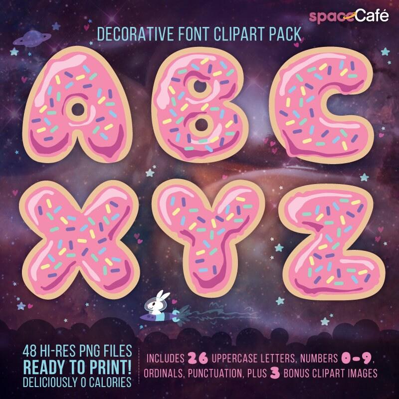 pink donut decorative alphabet font clipart pack 48 hi