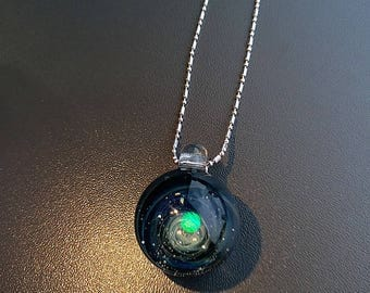 Glass Marble, Fumed Cosmic Galaxy, White Opal, Space Junk , Marble glass Pendant 925 sterling silver D15