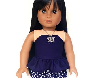 Print Shorts, Stars, Doll Shorts, Space, Navy Blue, White, Fits dolls such as American Girl, 18 inch Doll Clothes, Mix and Match, GOTY