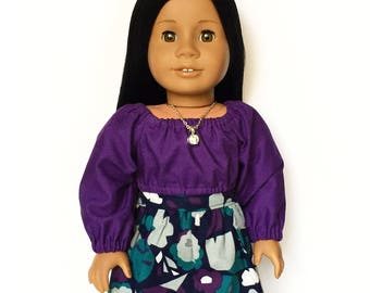 Flare Skirt, Floral, Navy Blue, Purple, Teal Blue, Gray, Fall, Fits dolls such as American Girl, 18 inch Doll Clothes, Mix and Match