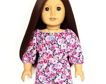 Peasant Top, Floral, Pink, Purple, Turquoise, 18 inch Doll Clothes, Fits dolls such as American Girl, Mix and Match