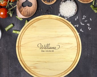 Personalized Cutting Board Round, Cutting Board Personalized, Wedding Gift, Housewarming Gift, Anniversary Gift, Christmas Gift, B-0044