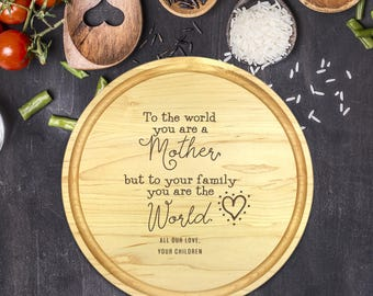 Mothers Day Gift, Engraved Cutting Board, Personalized Round Cutting Board, Gift for Mom, Wife Gift, Gift for Mother, Christmas Gift, B-0117