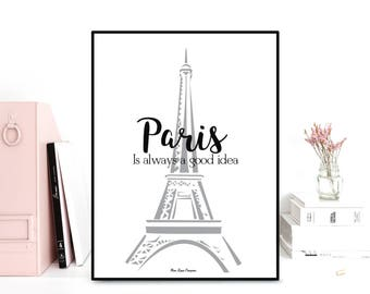 Paris poster, Eiffel tower poster, Poster quote, French wall art, Print wall poster, Quote print, Art print, Black and white poster