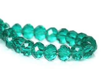 55 green glass 4mm faceted beads / oval beads