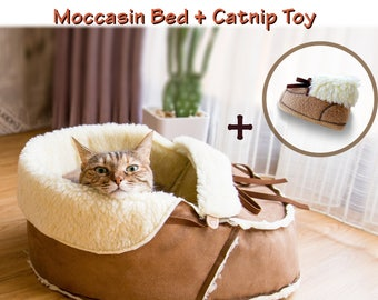 Cat Gift Set, Moccasin Cat Bed, Moccasin Catnip Toy, Cat Furniture, Cat Condo, Cat Cave, Cat Toy, Cat Lover Gift, Cat Gift, Cat Bedding