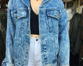 Denim Jacket Acid Wash Pleated Back Frayed Sleeves  Missing Buttons