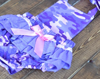 Baby girl pink and purple camo ruffle bottom romper, baby girl bubble romper, bubble romper, camo romper