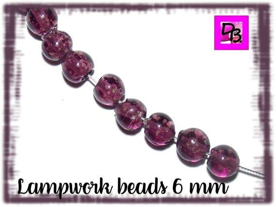 10 Perles Lampwork [orchid] 6 mm
