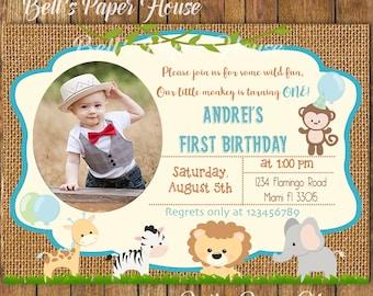 Digital file or Printed-Safari Birthday Boy Invitation-Jungle Animal Birthday Invite-Burlap-Safari Animal Birthday Invite-Free Shipping