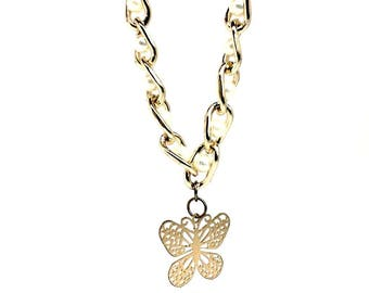 Handmade women's jewellery necklace with Golden butterfly pendant - Gifts for girls. Luxurious gift box included. Latin-American design