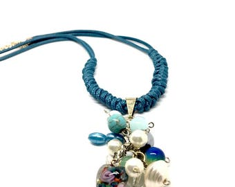Women jewellery Handmade Necklace with Beads - Charms Pendant. Gift Box included. Gifts for girls. Pink, Blue and Turquoise available