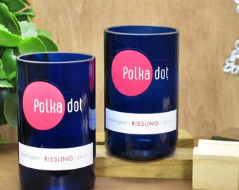 clever gift idea for significant other Polka Dot Riesling bottle glass tumbler set for wine lover or her xmas gift fun gift xmas gift wife