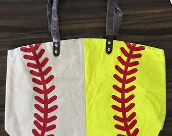 Baseball or Softball Tote, Baseball or Softball Bag, Personalized, Monogrammed, Baseball or Softball mom, Sport