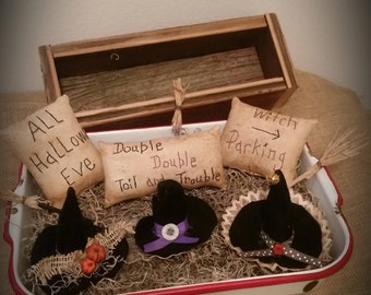 primitive witch bowl fillers, Halloween tucks, witch hat ornies, witch brooms, OFG, FAAP, prim Halloween decor, Witch pillow tucks