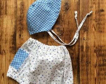Baby Girl Bloomers & Bonnet /Sunhat and Shorts Set/Newborn Cotton Set/Reversable Sunhat
