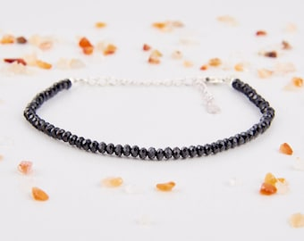 Womens Bracelet - Sterling Silver Bracelets - Black Spinel Bracelets - August Birthstone Bracelet - Adjustable Bracelet - Black Bracelets -