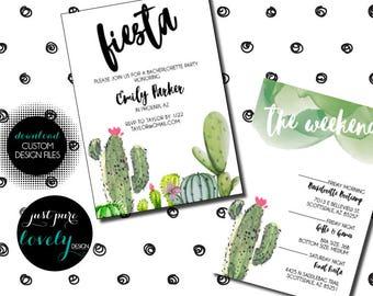 Cactus Fiesta Themed Bachelorette Party Invitation