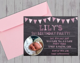 Printable Children's chalkboard photo Birthday Invitation