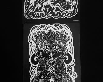 Abomination artist's sticker packs, pack 3 of 4; 4 pack of stickers horror stickers collectibles limited edition original artwork
