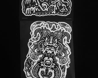 Abomination artist's sticker packs, pack 4 of 4; 4 pack of stickers horror stickers collectibles limited edition original artwork