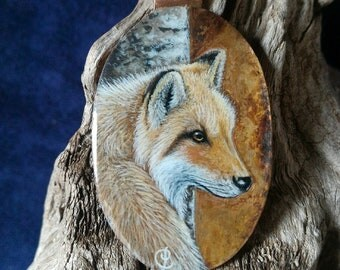 Fox, miniature painted on copper pendant