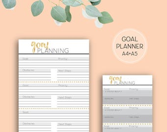 Printable Goal Planning pages, digital download A4 planner pages