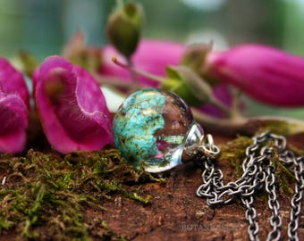 """Long Raw Turquoise Necklace, 16mm Raw Turquoise Resin Pendant on 24"""" Antique Silver Chain, Little Boho Necklace"""