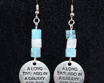 A Long Time Ago Earrings - Geeky Jewelry - Antiqued Silver - Star Wars - Geeky Earrings - Fandom - Blue - Glass - Gift for Her