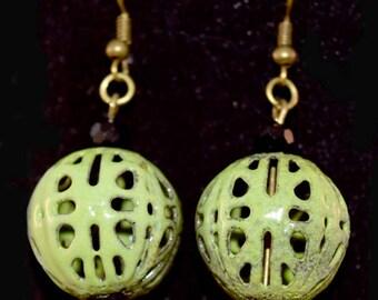 Handmade Enamel Bead Earrings - Iron Bead - Antique Bronze - Black - Pea Green - Gift for Her - Christmas