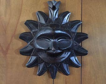 Wood Carved Smiling Sun