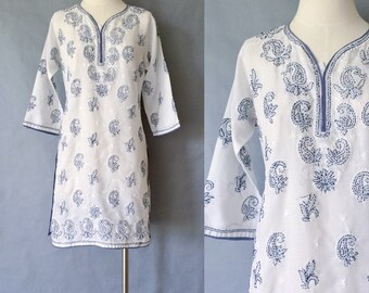 vintage handmade embroidered floral tunic/dress women's size S