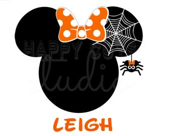 Minnie Mouse with Spider Web Halloween Mickey Mouse  Disney Family Vacation Not So Scary Halloween Party Iron On Decal Vinyl for Shirt 333