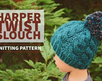 Knit Harper Twist Beanie PATTERN | Knit Pattern | Slouch Hat | Knit Cables | Cabled Beanie | Knit Hat | Instant Download