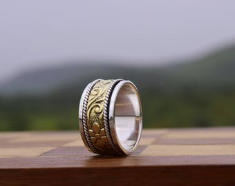 Silver Spinner Ring, spinning ring, meditation ring, fidget ring, worry ring, wide band, Brass & sterling silver ring, 925 sterling silver