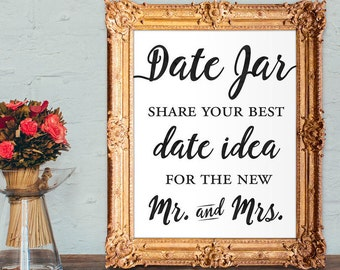 Date jar guest book - share your best date idea for the new mr and mrs - wedding guest book - 8x10 - 5x7 PRINTABLE