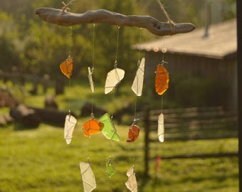 Authentic Found Beach Sea Glass and Driftwood Mobile Sun Catcher Wind Chime